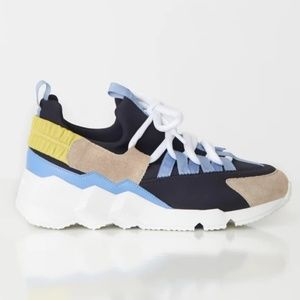 Pierre Hardy Neoprene and Leather Trainer Sneakers